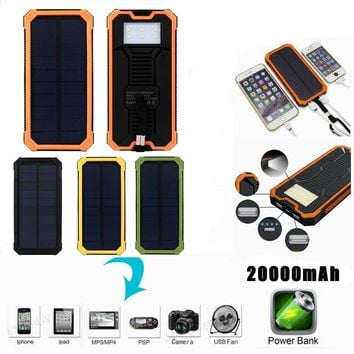 20000mAh Portable External Battery Charger Power Bank Dual USB Solar With LED power indicator for iPhone for Sanmsung for Huawei