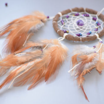 Car Accessory, Ginger  Dream catcher with Agate Stone, Rear View  Mirror, Small  Dreamcatcher.