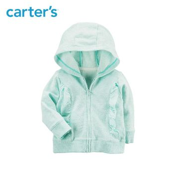 Carter's 1-Piece baby children kids clothing Girl Spring & Summer French Terry Ruffle Zip-Up Hoodie 118I250