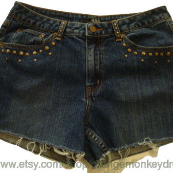 stud detail flap pocket denim jeans cuff shorts 31 32 INCHES WAIST