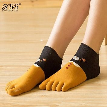HSS Brand New Cotton Bear Toe Socks Women Cartoon Five Fingers Socks Sweat Deodorant Toe girls Socks calcetines chaussette femme