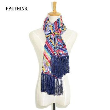 DCCKFS2 [FAITHINK] 2018 New Fashion Women Rainbow Foulard Scarf Luxury Brand Spring and Summer Cape Travel Fancy Ponchos and Capes