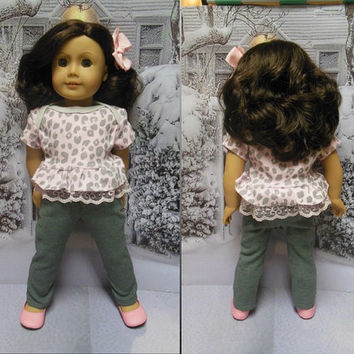 """American girl doll clothes """"A Poodle in Paris""""  18 inch doll outfit  winter sweater slacks ruffled top hair bow poodles pink and gray OOAK"""