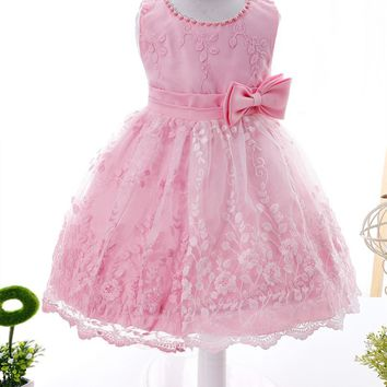 First Year Baby Newborn Christening Dress Embroidery Flower Pattern Infant Toddler Sleeveless Dress With Beading Bow for Baptism