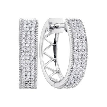 10kt White Gold Womens Round Diamond Triple Row Pave Hoop Earrings 1/3 Cttw