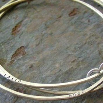 Hand stamped personalized Sterling Bangle Trio by cinnamonsticks