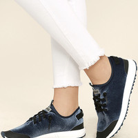 Coolway Tahalifit Royal Blue Velvet Sneakers