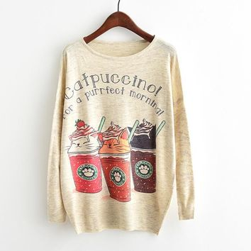 Catpuccino Cute Kitty Cat Coffee Cups Printed Knitted Top