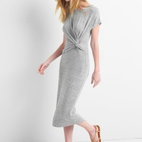 Softspun Midi T-Shirt Dress with Twist-Knot Detail | Gap