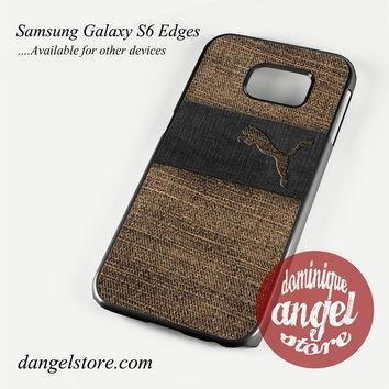 puma brown denim texture phone case for samsung galaxy s3 s4 s5 s6 s6 edge s6 edge plu  number 1
