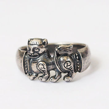 Lion ring, Abstract lion, Heraldic lion, Lion rings, Heraldic lion ring, Silver plated jewelry, Size 7 ring