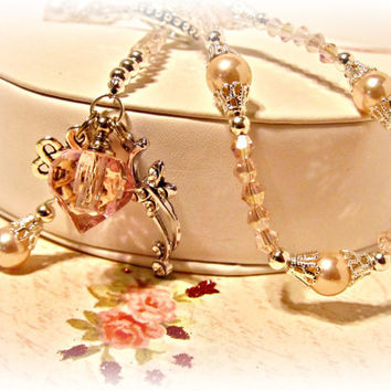 Pink Heart Perfume Amulet Pendant Necklace with Pink Pearls and Crystals - Gift for Her, Prom, Bridesmaid gift