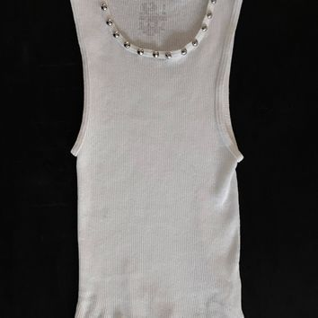 Punk Rock Lies Cutoff Studded Tank 006 - White