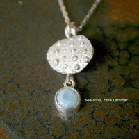 Sterling Silver Sea Urchin Shell Casting Pendant with Larimar, Rare Sky Baby Blue Gemstone Necklace Shiny Chain