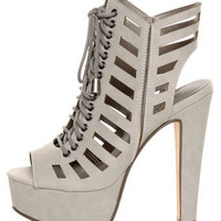 Michael Antonio Tiber Light Grey Cutout Lace-Up Platform Booties - $85.00