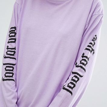 Adolescent Clothing Valentines Oversized Fool For You Long Sleeve Tee at asos.com