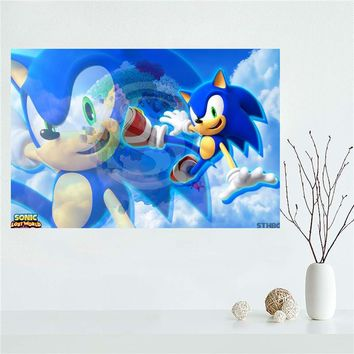 Y530L69 Custom Cartoon sonic the hedgehog Canvas Painting Wall Silk Poster cloth print DIY Fabric Poster F#66