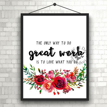 Great work | Inspiration Poster | Home Decor Print | Printable Quote | Typography | Office Decor Printable