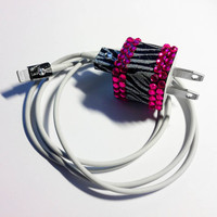iPhone 5 Zebra Glitter & Rhinestone USB Charger and Cord
