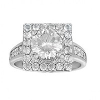 3ct tw Diamond Halo Engagement Ring in 14K White Gold - Designer Prototypes - Engagement Rings