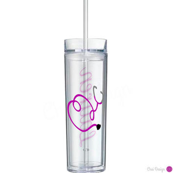 Stethoscope & Name Tumbler for Nurse, Doctor, Practitioner, Medical Student, RN, NP, OT, Physician's Assistant. Graduation. Special Gift