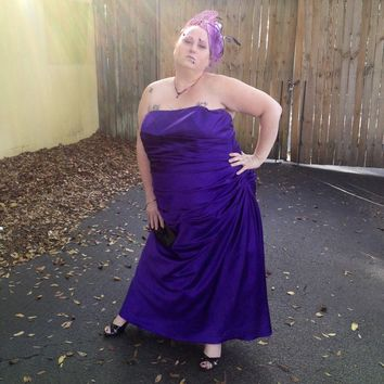 e2b4e0c2e47c David's Bridal Plus Size Strapless Ruched Purple Satin Ball Prom