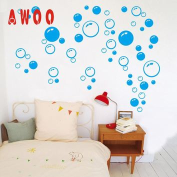 wall sticker 2017 Hot New  Bubbles Circle Removable Wall Wallpaper Bathroom Window Sticker Decal Cute Wall Art Decoration 17MAY8