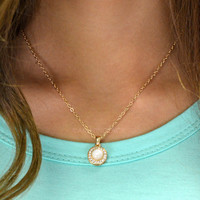 Ivory Circle Halo Pendant Necklace