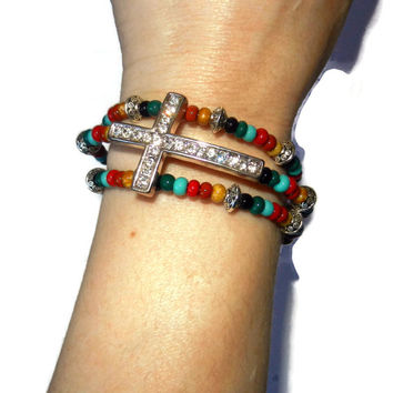 Colorful Wrap Bracelet with Silver Cross Connector, One Size Fits Most