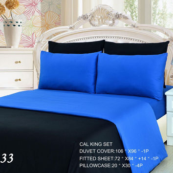 Tache 4-6 Piece Deep Blue Reversible Duvet Cover Set
