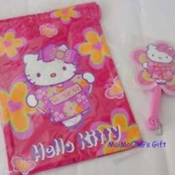 Sanrio Kimono Hello Kitty Drawstring Bag Paper Fan Pink