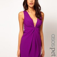 ASOS PETITE Exclusive Shift Dress With Deep V Neckline at asos.com