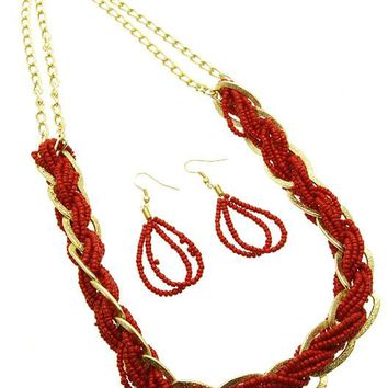 Red Multi Strand Micro Bead Necklace And Earring Set