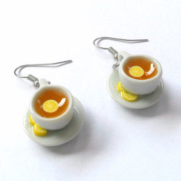 Lemon Tea Cup and Saucer with Lemon Slices Earrings, Stainless Steel Hooks :)