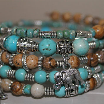 Wrap bracelet Memory Wire, turquoise stone beads, miyuki picasso beads, glass beads, jasper picture beads, charms