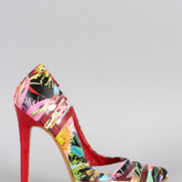 Women's Floral Lucite Pointy Toe Pump