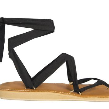 Caramel Leather Stitched Ribbon Sandals
