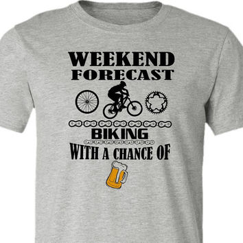 Mountain Bike T-Shirt-Weekend Forecast-Chance of Beer-Bicycle Tshirt in Athletic Grey