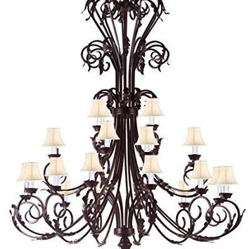 "Large Foyer / Entryway Wrought Iron Chandelier 50"" Inches Tall With White Shades!! H50"" x W30"" - A83-WHITESHADES/724/24"