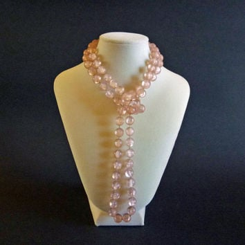 Lavender Flapper Necklace, Frosted Lavender Pink Bead Necklace, Lucite Jewelry