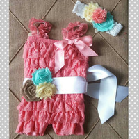Coral Easter Baby Romper - Spring Lace Petti Romper Outfit - Coral - First Birthday - Vintage - Easter Dress - Coral Flower Girl
