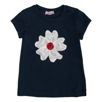 Monnalisa - Girls Flower Short Sleeve T-Shirt, Navy - 5Y