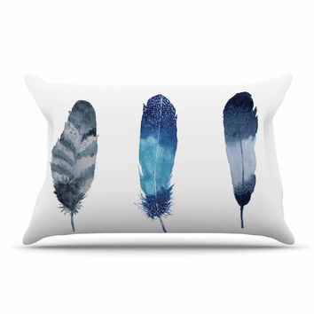 "Strawberringo ""Three Feathers "" Blue Gray Pillow Case"