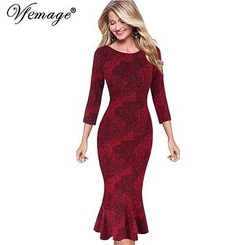 Vfemage Womens Elegant Vintage Autumn Mermaid Pinup Wear To Work Office Business Casual Party Fitted Bodycon Dress 2158