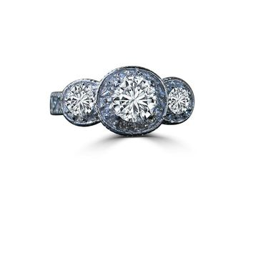 2 CT. Round (center 1.5 CT.) Three Stones Milgree Vintage Style Simulated Diamond Engagement/Wedding Sterling Silver Ring 635R13588