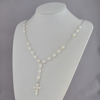 White Pearl Clusters Jewelry Long Cloth Necklace