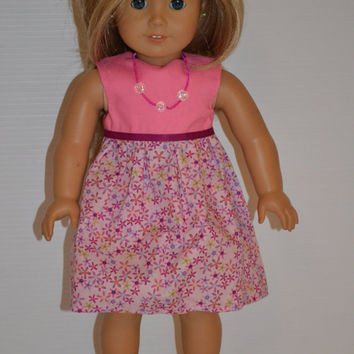 "American Girl Doll Clothes, 18"" Doll Clothes-Pink/Purple floral Dress"