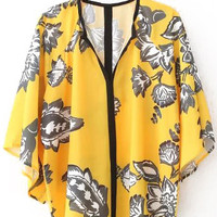 Yellow Floral Flared Sleeve Loose Fitting Blouse
