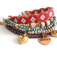 Bohemian hippie gypsy bracelet - multiple rows in pink and turquoise with friendship bracelet SALE - 30% OFF with coupon code JUNE2012