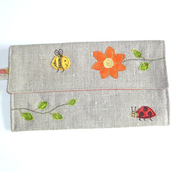 Handmade pencil case, sewing case or crochet case. Embroidered orange flower, bee and ladybird design. Car radio case. Made in England.